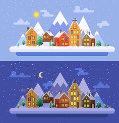 Christmas time. Vector flat illustrations - Seasons Nature