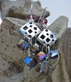 Amethyst Geometry Earrings with Book Charms