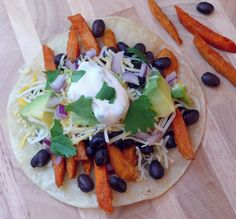 Smokey Sweet Potato Fry and Black Bean Tacos with Maple Jalapeno Cream from NoblePig.com