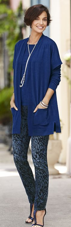 Chico's Zip-Back Mindy Pullover paired with our Mindy Vest and Platinum Denim Cheetah Jegging.