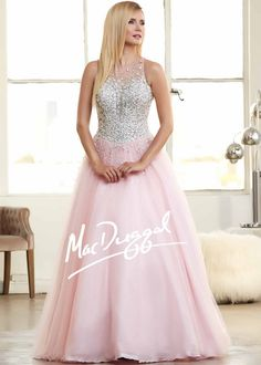 Prom dresses Trends 2015 Pink Sheer High Neck Mac Duggal 76714 Glitz and Glam Ball Gown