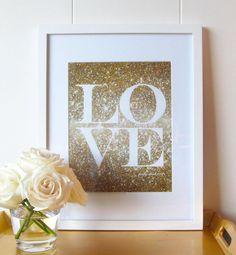 Glitter Love Print by Pretty Chic SF #weddingsignage #love #sparkle