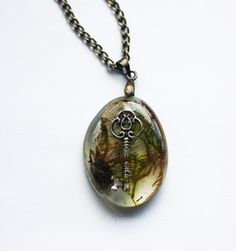 Lost Key Real Moss Resin Necklace Steampunk Woodland Charm