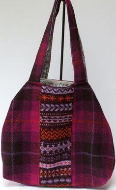 Harris tweed and fairisle slouchy bag in bright pink £60.00