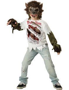 Disfraz hombre lobo para niño -Premium: Este disfraz de hombre lobo para niño incluye camiseta, mitones y máscara (pantalón y zapatos no incluidos).La camiseta es blanca con mangas de color caqui y estampado de...