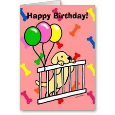 Yellow Labrador Puppy Cartoon Birthday Cards!  #yellowlabrador #labrador #dog #birthdaycard