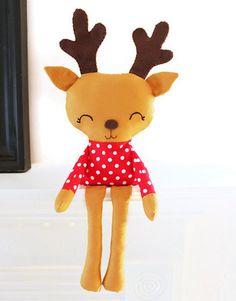 Reindeer Sewing Pattern Plush Toy Christmas Woodland PDF Sewing Pattern for Nursery Decor, Mantel or Bookshelf