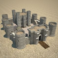Medieval Castle fantasy model low-poly architectural, available formats MAX, ready for animation and other projects