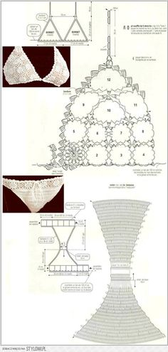 """Patrones Crochet: 2 Bikinis de Crochet Blancos Patrones/ crochet patterns: 2 white bikini crochet patterns or underwear"", ""♪ ♪ Biquini de Crochê Bran Crochet Diy, Mode Crochet, Crochet Woman, Irish Crochet, Crochet Books, Crochet Stitch, Motif Bikini Crochet, Bikinis Crochet, Crochet Diagram"