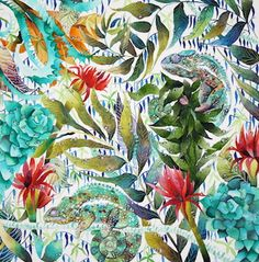 'Resting After Rainfall', Kate Morgan RI Studio, all works are ©KateMorganStudio and can not be reproduced in any form without consent of the artist. Pattern Art, Print Patterns, Tropical Party, Tropical Flowers, Trippy, Textile Design, Wall Prints, Wall Design, Amazing Art