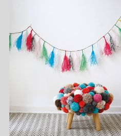 """DIY - how to make a pompom footstool - project from """"Pompomania"""" by Christine Leech"""