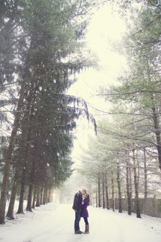 Cleveland/Akron Ohio Winter Engagement Session in the snow. Wedding Photography