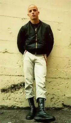 Skinhead Men, Skinhead Boots, Doc Martens, Wearing Black, Punk Rock, Black Boots, White Lace, Khaki Pants, Bomber Jacket
