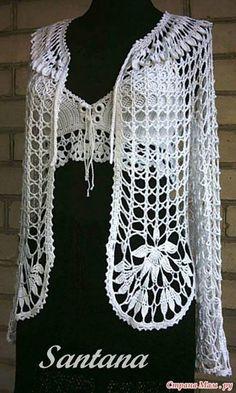 Crochet top and cardigan Crochet Coat, Crochet Jacket, Crochet Cardigan, Love Crochet, Crochet Shawl, Crochet Clothes, Hairpin Lace, Crochet Fashion, Crochet Patterns