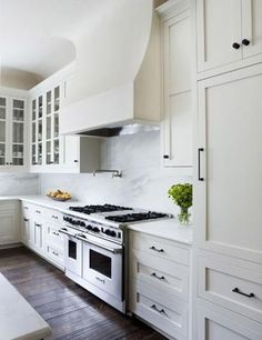 white cabinets dark floor black handles - Google Search