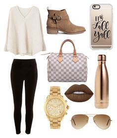 """Untitled #26"" by ripitrose on Polyvore featuring MANGO, River Island, Louis Vuitton, Casetify, S'well, Michael Kors, Ray-Ban and Lime Crime"