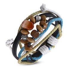 Leren Surfer armband met houten kralen
