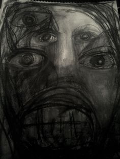 Me,It, and I, Hand drawn charcoal sketch By Ruth Clotworthy Charcoal Sketch, Charcoal Drawings, Dreams And Nightmares, Sales Image, Hand Sketch, Buy Art Online, Weird Art, Dark Night, Face Art