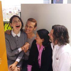 The @outlander_starz gang is too cute! #EWComicCon Shot on #LGG4. @samheughan, @caitrionabalfe.