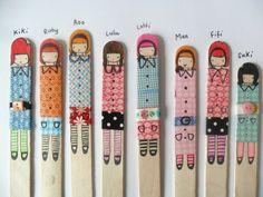 muñecas hechas con palitos de helado y washi tape  Would be cute on the tops of nail files.