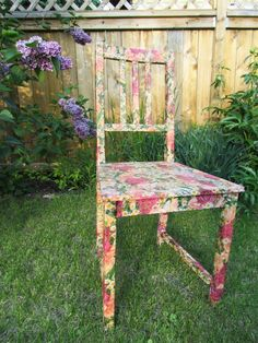 DIY chair made out of modge podge and napkins. yes, napkins! Love this idea, not so much the design. But I know what I will be doing to my boring kitchen chairs this summer