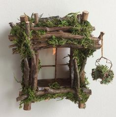 Fairy Window with Delicate Twinkling Light ~ Handcrafted by Olive Fairy Accessories, Fairy House, Fairy Door fairy garden houses - House & Garden Fairy Garden Furniture, Fairy Garden Houses, Garden Art, Garden Ideas, Fairy Garden Doors, Garden Drawing, Fence Ideas, Garden Gates, Door Ideas