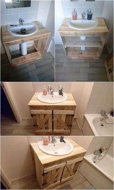 Unlimited Ideas with Old Shipping Wood Pallets is part of Pallet bathroom As you would be making the search around over the old shipping wood pallet projects, you would be probably be finding enchan - Pallet Bathroom, Diy Bathroom Vanity, Bathroom Furniture, Bathroom Storage, Pedestal Sink Storage, Pallet Ideas For Bathroom, Bathroom Sink Skirt, Outhouse Bathroom, Budget Bathroom