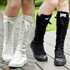 Womens Girls Punk Boots Canvas Lace Up Zip Knee High Sneaker Boots Shoes 2017 Knee High Sneakers, High Shoes, Lace Up Shoes, Knee High Boots, Shoes Sneakers, Women's Shoes, Canvas Sneakers, Tall Boots, Emo Shoes