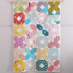 Modern patchwork XOXO baby crib size quilt multicolor by nenimav Antique Quilts, Vintage Quilts, Vintage Fabrics, Quilt Storage, Cot Quilt, Baby Cribs, Cool Baby Stuff, Kids Decor, Quilting Projects