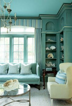 Save it for later. Turquoise room ideas - turquoise bedroom ideas for girls, boys, and adult. There's also another turquoise room ideas like living room and family room. Check 'em out! House Of Turquoise, Living Room Turquoise, Turquoise Walls, Aqua Walls, Turquoise Hotel, Turquoise Office, Turquoise Furniture, Coral Rug, Bedroom Turquoise