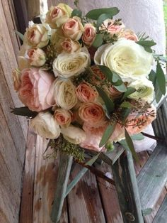 GORGEOUS GARDEN ROSES, BLUSH, IVORY AND SWEET PINK, SEEDED EUCALYPTUS, VINTAGE