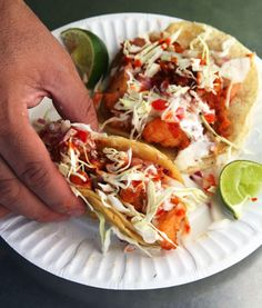 Beer-battered, fried fish tacos. Authentic and delicious!