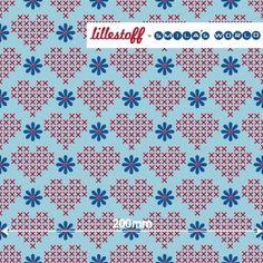 Lillestoff Stretch Jersey X-DAIZY LOVE blue Herzen Blumen BIO Jersey COUPON