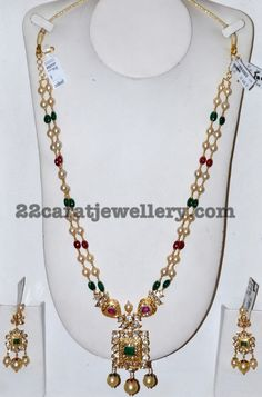 Precious Stones Long Set with Pendant