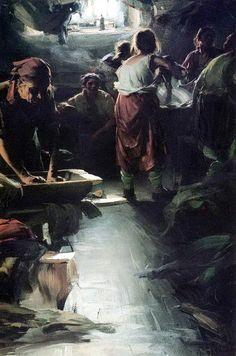 Abram Efimovich Arkhipov (1862 – 1930), Russian painter The Washer Women