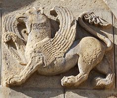 The Simurgh on the wall of church Samtavisi. A Simurgh is a kind of bird, in the mythology of Persia, Armenia, Turkey, and areas covered by the Byzantine Empire, perhaps the equivalent of the Roc or Rukh - this one certainly looks like a gryphon.