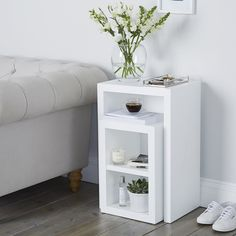 Buy Pimlico Narrow Cube Nest Table - Set of 2 - from The White Company Living Room Storage, Bedroom Storage, Bedroom Decor, Bedroom Ideas, Living Rooms, Cube Side Table, White Side Tables, White Nest Of Tables, Mens Bedding Sets