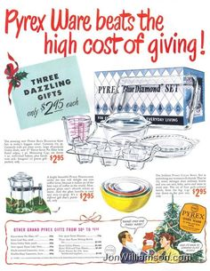 photos of vintage pyrex bowls and casseroles | Vintage Pyrex Ads