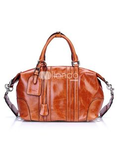 Mahogany Cylindrical Shape Buckle Distressed Cowhide Womens Tote Bag. See More Tote Bags at http://www.ourgreatshop.com/Tote-Bags-C775.aspx