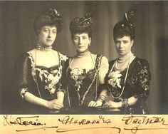 Photo by unknown of two of the daughters of King Christian IX of Denmark, Queen Alexandra of the United Kingdom (center) and Empress Maria Feodorovna of Russia (Dagmar), (right), along with Queen Alexandra's daughter Princess Victoria (left). Tsar Nicolas Ii, Tsar Nicholas, Victoria And Albert, Queen Victoria, Regina Victoria, Windsor, Catalina La Grande, Princess Alexandra Of Denmark, Royal Families
