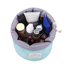 Amazon.com : HOYOFO Barrel Travel Cosmetic Bags Women Makeup Toiletry Storage Bag, Blue : Beauty