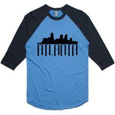theIndie Atlanta Skyline (Black) 3/4-Sleeve Raglan Baseball T-Shirt