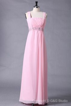 A-line Zipper Square Sleeveless Pink Long Evening Dresses