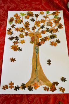 Jigsaw tree craft idea