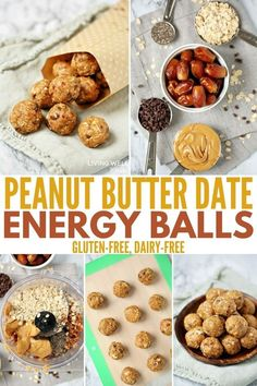 These Peanut Butter Date Energy Balls have a tasty combination of peanut butter and chocolate and are sweetened naturally with dates. With six common ingredients, you can make this energy ball recipe in as little as 5 minutes. #snacks #peanutbutter #glutenfree #glutenfreerecipes #dairyfree #easyrecipe