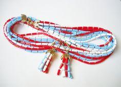 Set Sarah Coventry Red White Blue Tube Plastic Beads Long Necklace Clip Earrings Firecracker Patriotic 1970s Modern Modernist Mod by FindCharlotte on Etsy