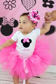 Has her name on it, had to pin it! Minnie Mouse Onesie/Shirt Pink Personalized by TuTooCuteTutus, $21.00