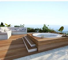 Cozy Modern Outdoor Bathtub Design Ideas 15 image is part of 30 Stunning Cozy Modern Bathtub Dream Design Ideas gallery, you can read and see another amazing image 30 Stunning Cozy Modern Bathtub Dream Design Ideas on website Rooftop Design, Terrace Design, Rooftop Terrace, Outdoor Bathtub, Outdoor Spa, Outdoor Living, Whirlpool Deck, Hot Tub Deck, Modern Bathtub