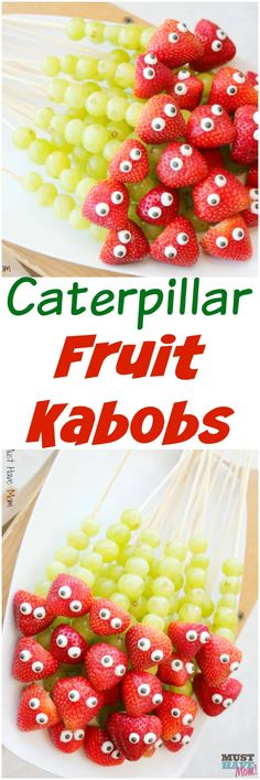 Great healthy party food for kid… Easy caterpillar fruit kabobs party food ideas! Great healthy party food for kids that is a cute caterpillar! Fruit Kabobs Kids, Fruit Snacks, Fruit Party, Party Desserts, Parties Food, Fruit Fruit, Party Appetizers, Lunch Party Foods, Party Food Snacks