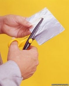 Sharpen dull scissors by cutting tin foil or sandpaper. | 26 Clever And Inexpensive Crafting Hacks